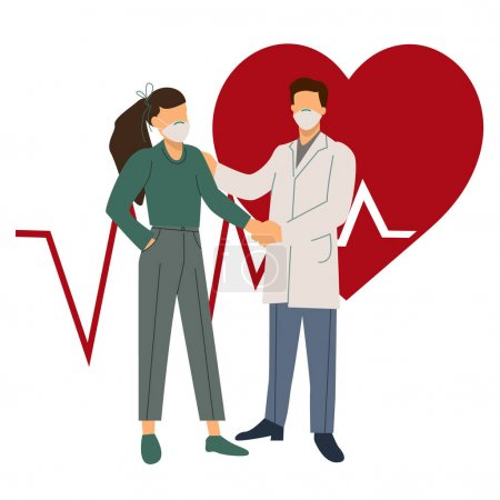 Illustration for Vector coronavirus icons with doctor and patient in medical masks shaking hands near heart illustration on white - Royalty Free Image