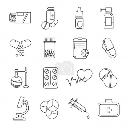 Illustration for Vector coronavirus icons with pills and medication on white - Royalty Free Image
