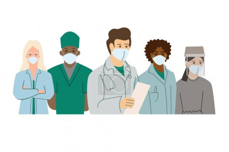 Illustration for Vector coronavirus with multicultural doctors in medical masks on white - Royalty Free Image