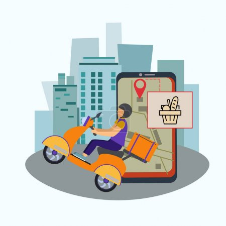 Illustration for Vector with drawn delivery man in helmet riding scooter with package - Royalty Free Image