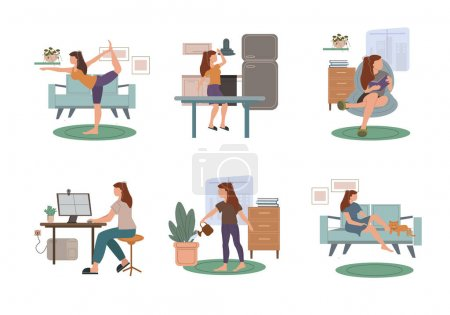 Illustration for Vector coronavirus with drawn woman practicing yoga, reading book, working from home, watering plant, and resting with cat on sofa on white - Royalty Free Image