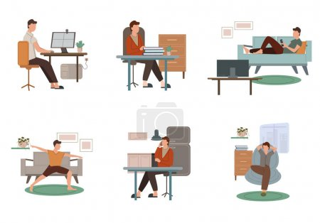 Illustration for Vector coronavirus with drawn man practicing yoga, working from home, talking on phone and resting on sofa while watching movie on white - Royalty Free Image