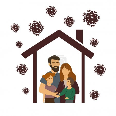 Illustration for Vector coronavirus with drawn family under roof, stay at home concept - Royalty Free Image