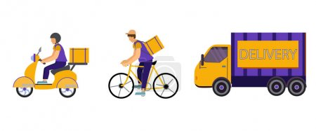Illustration for Vector icons with delivery men riding bike and scooter near truck with delivery lettering on white - Royalty Free Image