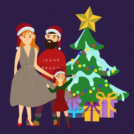 Vektor mit Eltern, die mit Tochter am Weihnachtsbaum auf blau stehen
