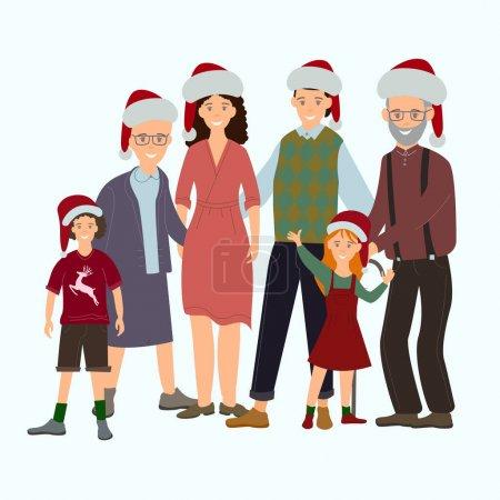 Illustration pour Vecteur avec la famille heureuse dans des chapeaux de père Noël sur fond blanc - image libre de droit