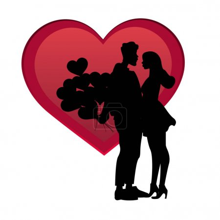 Illustration for Silhouettes of couple with balloons near red heart isolated on white, vector illustration - Royalty Free Image