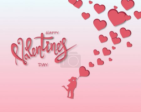 Illustration for Happy valentines day lettering with red hearts and hugging couple, vector illustration - Royalty Free Image