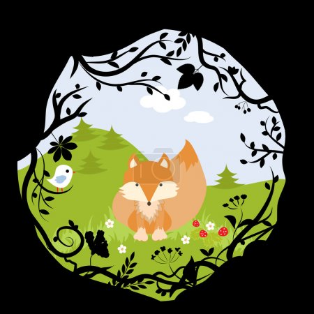 Forest Fox Bird Wild Cute Nature Woods Cartoon Ill...