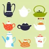 Tea Coffee Season Autumn Winter Kettle Set Breakfast Teapot Vector Illustration
