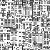 Seamless pattern with black and white buildings in old European style