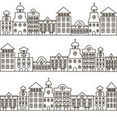 Set of black and white houses in old European style Vector illustration