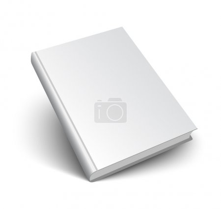 Illustration for Blank book mockup with shadow isolated on white. 3d vector illustration. - Royalty Free Image