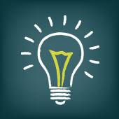 Chalk hand-drawn idea light bulb icon on gradient background Vector EPS10 illustration