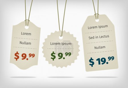 Hanging cardboard pricing tags with colorful prices