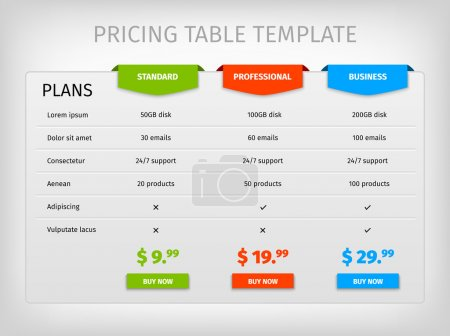 Illustration for Comparison of services. Web pricing table template for business plan. Vector EPS10 illustration. Colorful 3d chart - Royalty Free Image