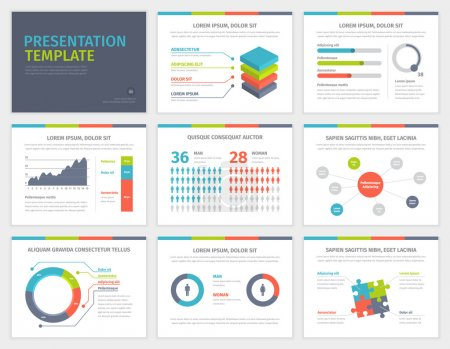 Set of Presentation Template. Infographic elements on slides.