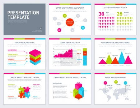 Vector template for presentation with graphs and charts.