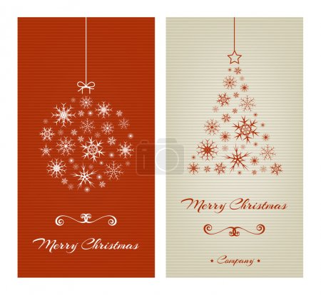 Multicolor red and beige christmas cards. Christma...