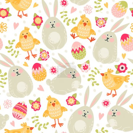 rabbits, chickens and eggs pattern