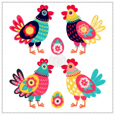 Illustration for Floral chickens and eggs set - Royalty Free Image