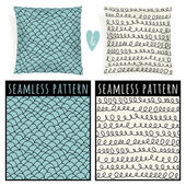 Set with pillows and seamless patterns