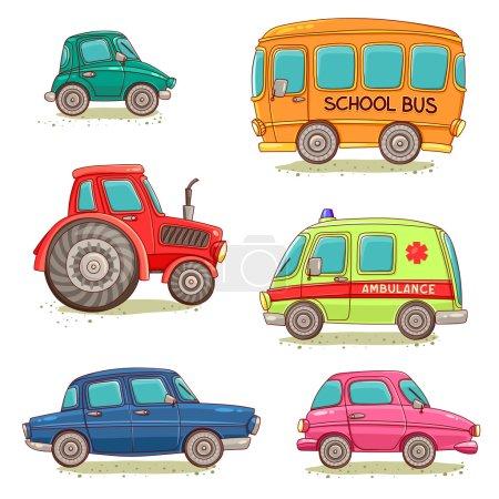 Illustration pour Ensemble d'images isolées avec des voitures de dessin animé, ambulance, tracteur et autobus scolaire. Illustration vectorielle . - image libre de droit