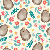 Seamless pattern with hedgehogs
