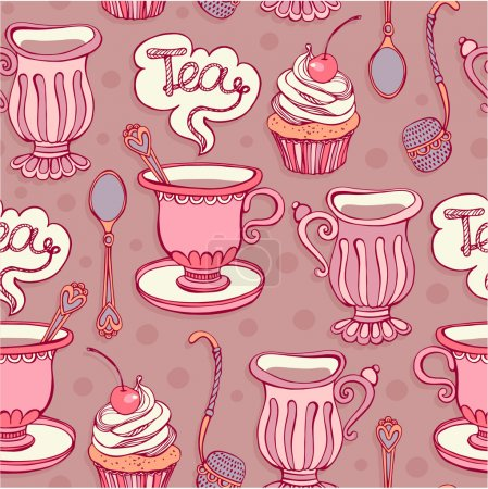 Seamless pattern. Tea party.