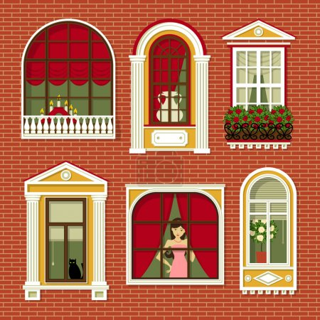 Illustrations with  vintage windows