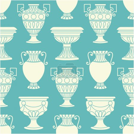 Pattern with antique vases