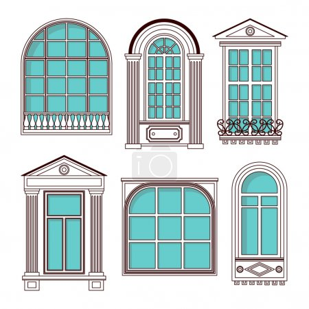 Illustrations with a vintage windows