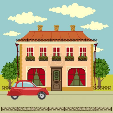 Old house, car and trees