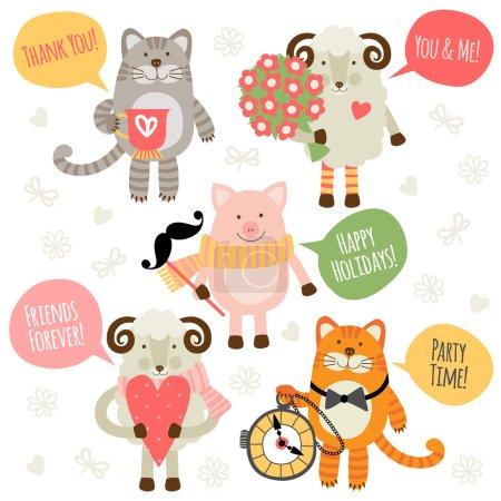 Photo pour Ensemble d'illustrations d'animaux avec salutations traditionnelles. Moutons, chats et porcs . - image libre de droit