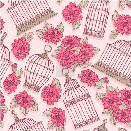 Flowers and bird cages.