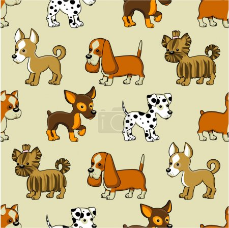Seamless pattern with puppies.