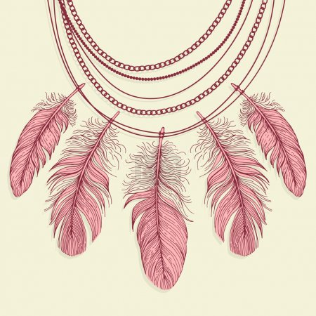 Necklace made of feathers.