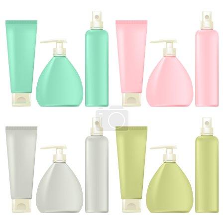 Illustration pour Emballage pour cosmétique. Ensemble. Différentes couleurs. - image libre de droit