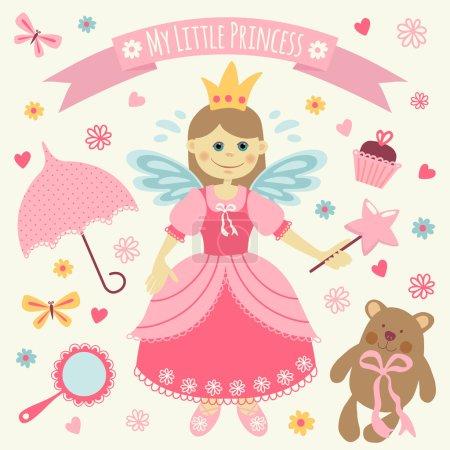 Illustration pour Ensemble d'accessoires et Petite Princesse. Modèle de carte de voeux ou d'invitation . - image libre de droit