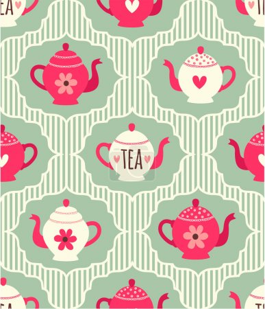 Pattern with vintage teapots