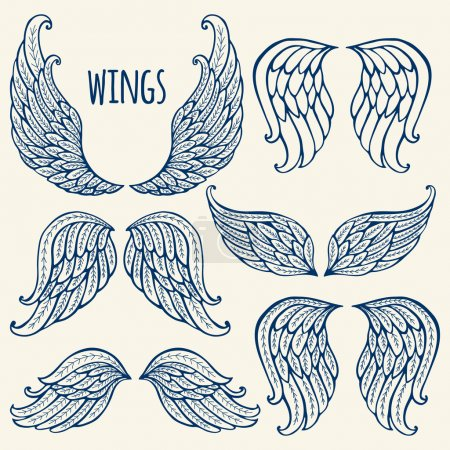 Illustration for Set of illustrations with angel wings. - Royalty Free Image