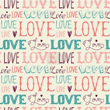 Illustration pour Modèle sans faille des mots. L'amour. Dessin à main levée. - image libre de droit