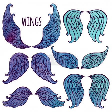 Illustration for Set of illustrations with angel wings. Watercolor and contour. - Royalty Free Image