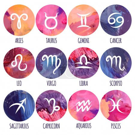 Freehand drawing of Zodiac icons