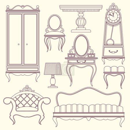 Illustration pour Set avec mobilier vintage. fauteuil de luxe, horloge, lampe, miroir, canapé, table, armoire - image libre de droit