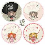 Little girls Set of banners or templates