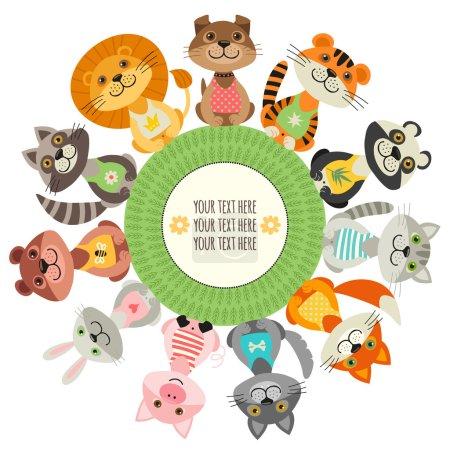 Illustration pour Carte modèle ou bannière avec animaux sauvages et animaux domestiques . - image libre de droit