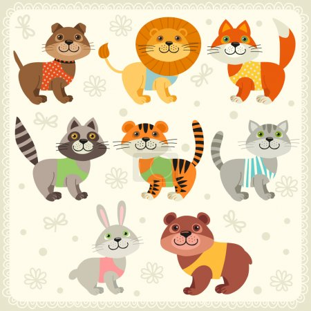 Set of illustrations with animals.