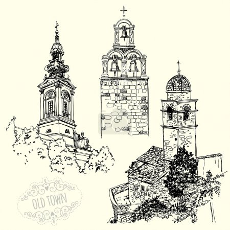 set of drawings with old churches