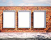 Mockup billboards on brick wall